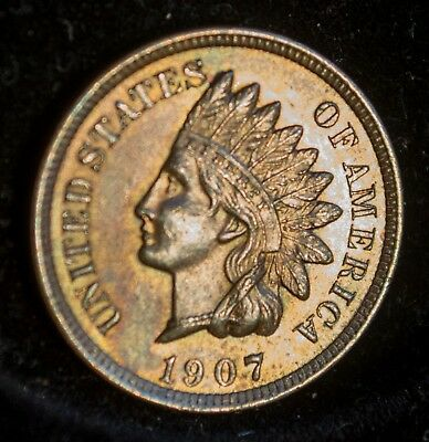 1907 Indian Head Cent: Choice BU UNC full diamonds, very lusterous, nice color