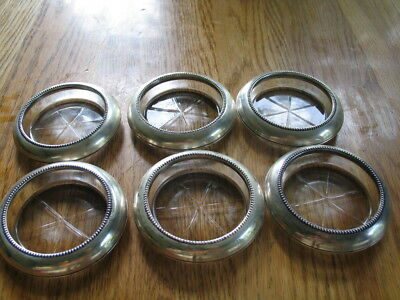 6 Vintage Frank M. Whiting Sterling Silver Coasters/Etched Glass Bottoms
