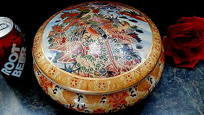 """HUGE Porcelain Oriental Asian HAND PAINTED 10""""D Jewelry Box or ? VERY DECORATIVE"""