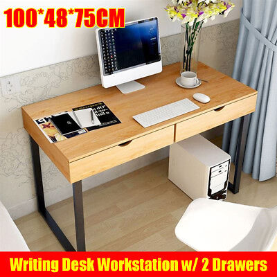 Wood Vintage Computer Desk Retro Home Office Writing Industrial Table 2 Drawer