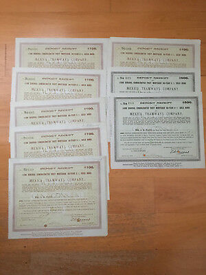 8 x MEXICO MEXICAN TRAMWAYS COMPANY $100 50-YEAR 1916 GOLD BOND CERTIFICATES