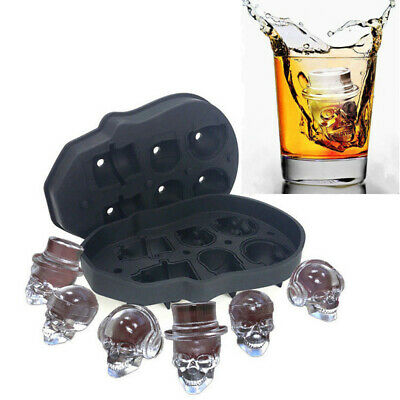 Silicone 3D Skull Shape Ice Cube Mold Trays Bar Chocolate Cake Mould DIY Maker
