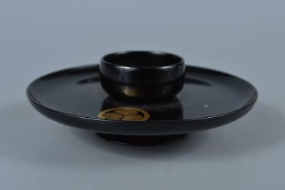 K6613: Japanese Wooden Lacquerware Tenmoku TEABOWL STAND/tray Powdered green tea