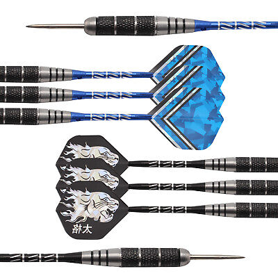 6 X Stainless Steel Tip Darts Carving Barrel Chrome-plated Brass Aluminium Shaft