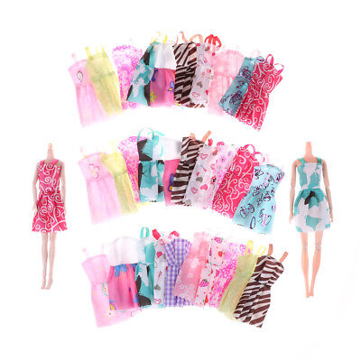10Pcs Fashion Handmade Barbie Doll Party Dress Clothes Mixed Styles Random FT