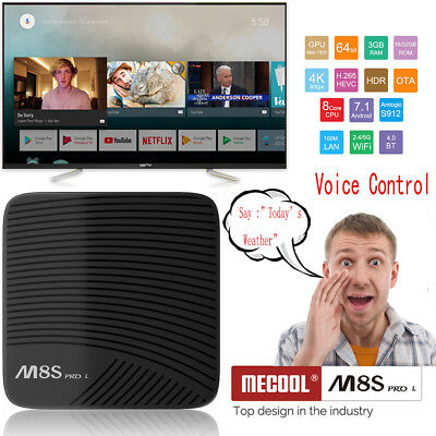Mecool M8S PRO L 3G+16G 8-Core S912 Android 7.1 WiFi BT4.0 Voice Control TV Box
