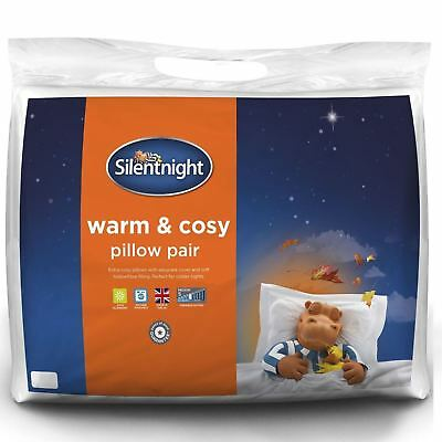 Silentnight Warm And Cosy Soft Pillows 2 Pack Pair Of Cushions Cover Case Set