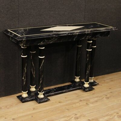 Console furniture table french wooden lacquered imitation marble antique style