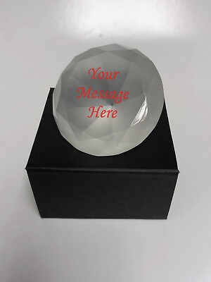 8cm Frosted Diamond Paperweight Engraved Personalised Birthday  Gift
