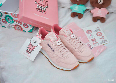 1272799aa2d0 Reebok Classic Unisex LINE FRIENDS Classic Leather Pink Limited Shoes  Sneakers