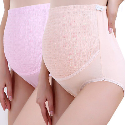 8c974fd285132 2Pack 100%Cotton High Waisted Maternity Pregnancy Support Adjustable Panties