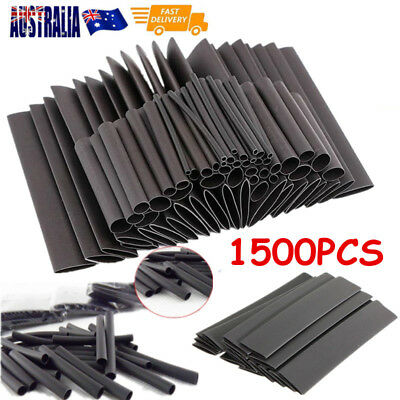 1500pcs BLACK HEAT SHRINK HEATSHRINK WIRE CABLE TUBING TUBE SLEEVING SLEEVE WRAP