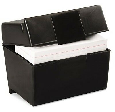 Oxford Plastic Index Card Box, 4 x 6 Inches, 400 Card Capacity, Black (01461)