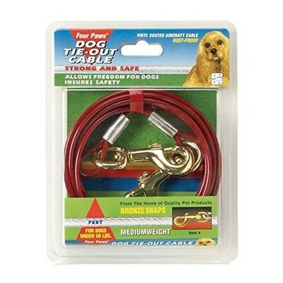 Four Paws Red 15 Foot Medium Weight Dog Tie Out Cable - Ft 15ft
