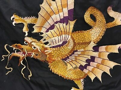 20th C Taisho/Showa Period Japanese Dragon Silk Embroidered Applique