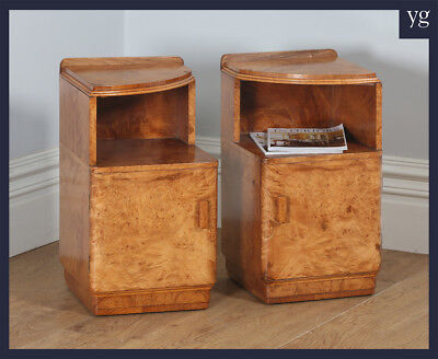 Antique Pair English Art Deco Birds Eye Maple Bedside Cabinet Tables Nightstands
