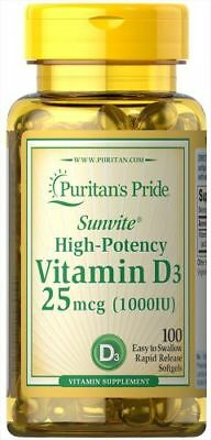 Vitamin D3 1000 IU x 100 Softgels - 24HR DISPATCH
