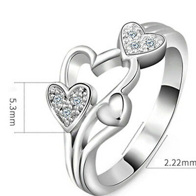 Women Fashion Love Heart Ring Crystal Plated Jewelry Silver Wedding Adjustable