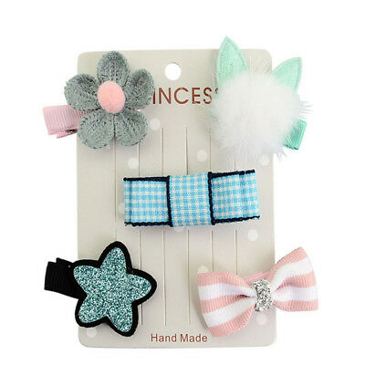 5X Lots Star Mini Bow Cute Clip 5Pcs/set Hairpins Clips Baby Barrettes