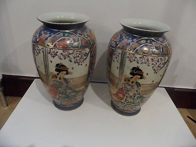 2 X Large Stunning Matching Oriental Vases 12 Inch Tall 2999