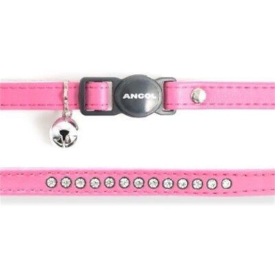 Safety Buckle Cat Collar Deluxe Jewel Cerise (pack Of 3) - Ancol Diamante