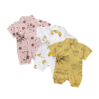 Summer Infant Baby Boys Girls Japanese Jinbei Kimono Bear Tops Pants Pajamas Set