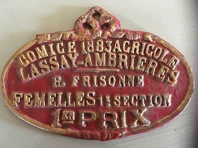 ANTIQUE 1883 French CAST IRON Plaque Award METAL SIGN 1st Prize Great Condition!
