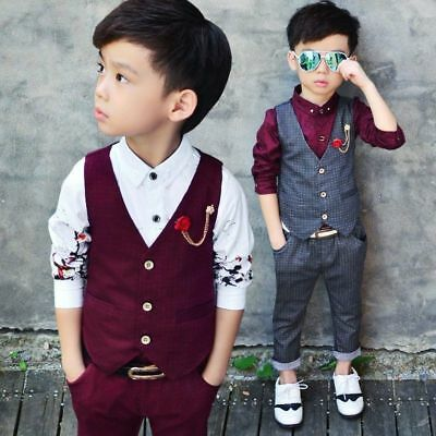 Fashion Kids Baby Boys Gentleman Suit For Wedding Clothes Waistcoat + Pants Set