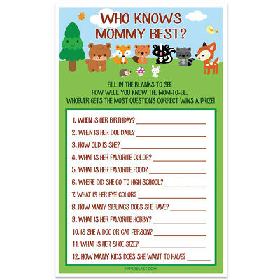 Woodland Creatures Forest Baby Shower Game – Who Knows Mommy Best – Set of 30