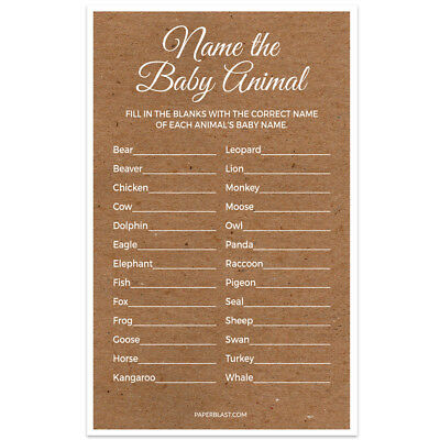 Baby Shower Game – Name the Baby Animal – Set of 30 – Kraft Texture