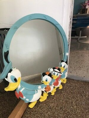 Vintage Disney Mirror Donald Duck 1960s Disneyana Plastic Wall Mirror
