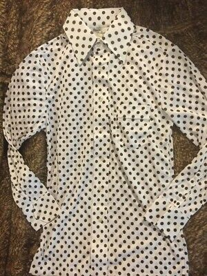 NEW Vtg 60-70s Polka Dot Poly Mens Hippie Boho Disco Dress Shirt NOS White Brown