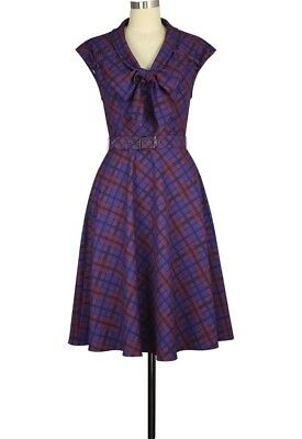 CSTD 811A2 Damen Kleid Rockabilly 50er 60er Vintage Retro Lila Kariert Purple