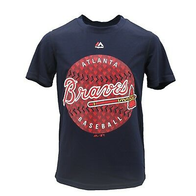Atlanta Braves MLB Majestic Cool Base Kids Youth Size Athletic T-Shirt New Tags