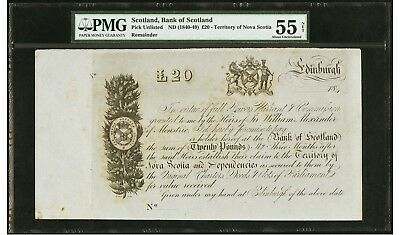 1840's Bank of Scotland 20 Pounds - Territory of Nova Scotia - PMG 55 (Net)