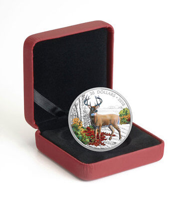 2018 Canada Majestic White-Tailed Deer 1 oz Proof Silver $20 Coin OGP SKU53355