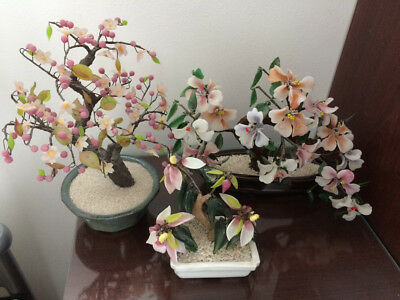 Vintage Orienental Glass Bonsai  Blossom Trees in Pots