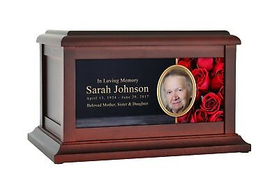 Large/Adult 200 Cubic Inch Red Roses Wood Photo Funeral Cremation Urn for Ashes
