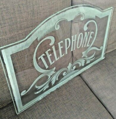 Vintage Reclaimed Telephone Booth Kiosk Etched Glass Window Pane Art Nouveau Wow
