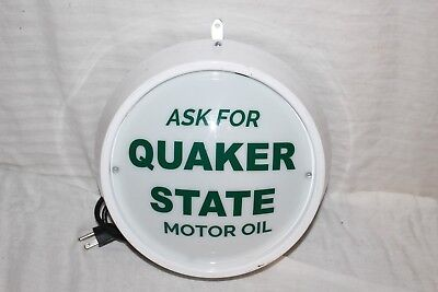 Rare Vintage 1960's Quaker State Motor Oil Gas Station Lighted Metal Sign~Nice