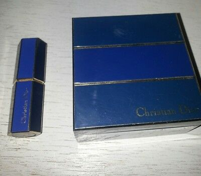 vintage blue christian dior 1980s make up POWDER rose LIPSTICK elegance