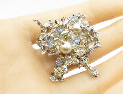 925 Sterling Silver - Hand Made Pearl & Crystal Cluster Brooch Pin  - BP1183
