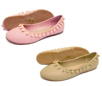 Ballet Pumps Ladies flat shoe pom-poms pink beige-synthetic-Holiday-festival