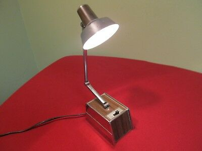 Vintage Triple Hinged Desk Lamp by Shine Chrome and Faux Wood Grain