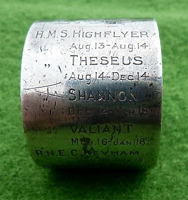 Silver Napkin Ring Detailing Ww1 Naval Career Of Lt Commander E.g.beazley