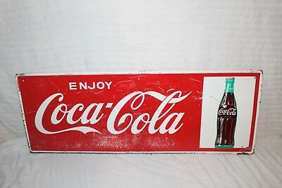 "Vintage 1950's Coca Cola Soda Pop Bottle Gas Station 32"" Metal Sign"