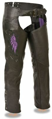 Milwaukee Womens Chaps w/Wing Embroidery And Rivet Detailing Purple