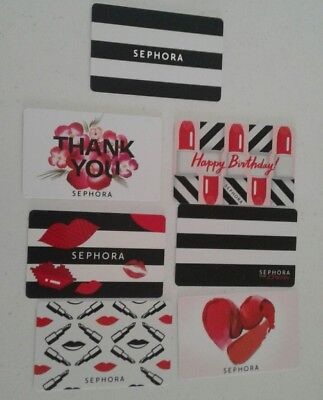 7 SEPHORA Gift Cards, Happy Birthday, Thank You, Mint