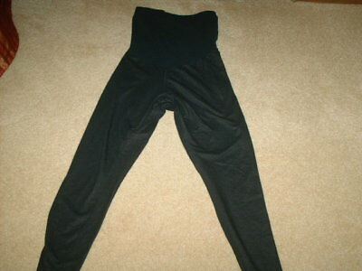 Size small, black pants, legging style, with wide band at the belly