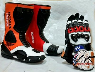 Honda Repsol Motorbike Boots Motorcycle Gloves Leather Shoes MotoGP 38-48, M-2XL